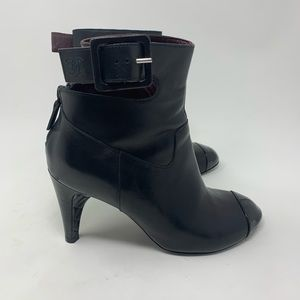 Chanel black leather ankle strap short booties